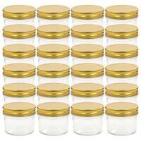 vidaXL 24 pcs Pots à confiture avec couvercles dorés Verre 110 ml