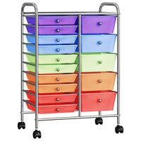 vidaXL Chariot rangement mobile à 15 tiroirs XXL Multicolore Plastique