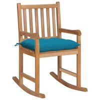 vidaXL Chaise à bascule avec coussin bleu clair Bois de teck solide