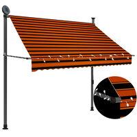 vidaXL Auvent manuel rétractable avec LED 200 cm Orange et marron