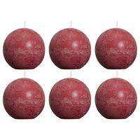 Bolsius Bougies boule rustiques 6 pcs 80 mm Rouge bordeaux