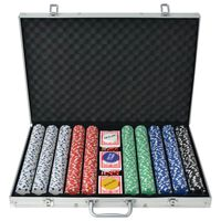 vidaXL Jeu de poker avec 1000 jetons Aluminium