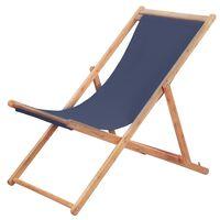 vidaXL Chaise pliable de plage Tissu et cadre en bois Bleu