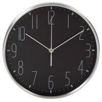 Perel Horloge murale 25 cm Noir et argenté
