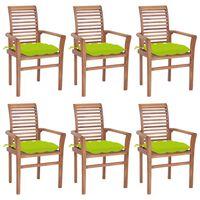 vidaXL Chaises à dîner 6pcs avec coussins vert vif Bois de teck solide