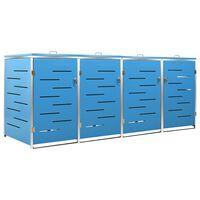 vidaXL Abri pour quatre poubelles 276,5x77,5x115,5 cm Inox