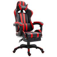 vidaXL Chaise de jeu avec repose-pied Rouge Similicuir