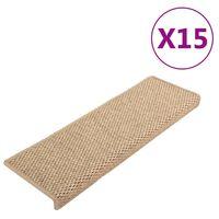 vidaXL Tapis d'escalier autocollants 15 pcs 65x25 cm Sable