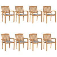 vidaXL Chaises de jardin empilables avec coussins 8 pcs Teck solide