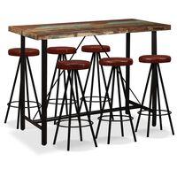 vidaXL Ensemble de bar 7 pcs Bois massif recyclé et cuir véritable