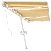 vidaXL Auvent manuel rétractable avec LED 600x300 cm Jaune et blanc