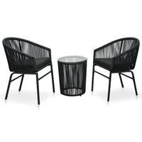 vidaXL Ensemble de bistro 3 pcs avec coussins Rotin PVC Noir