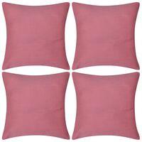 vidaXL Housses de coussin 4 pcs Coton Rose 40x40 cm