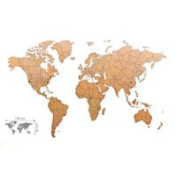 MiMi Innovations Décor de carte du monde murale Puzzle Marron 150x90cm