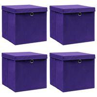 vidaXL Boîtes de rangement et couvercles 4 pcs Violet 32x32x32cm Tissu
