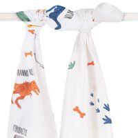 Jollein Torchon multifonctionnel 2 pcs Dinosaure 115x115 cm Blanc