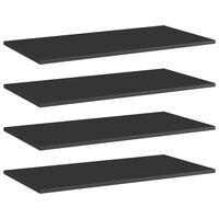 vidaXL Panneaux bibliothèque 4 pcs Noir brillant 80x40x1,5cm Aggloméré