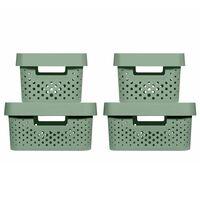 Curver Boîtes de rangement 4 pcs avec couvercle 4,5L+11L Vert