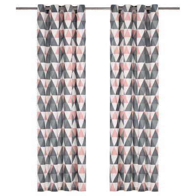 vidaXL Rideaux avec anneaux en métal 2pcs Coton 140x245cm Gris et rose