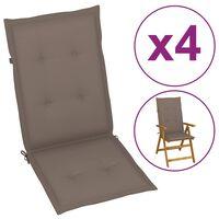 vidaXL Coussins de chaise de jardin 4 pcs Taupe 120x50x4 cm