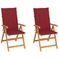 vidaXL Chaises de jardin 2 pcs avec coussins bordeaux Bois de teck