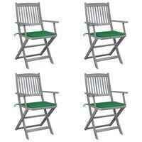 vidaXL Chaises pliables d'extérieur 4 pcs avec coussins Bois d'acacia