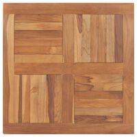 vidaXL Dessus de table Bois de teck solide Carré 80x80x2,5 cm