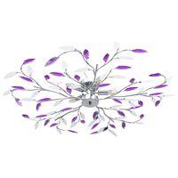 vidaXL Plafonnier à bras feuille en cristal acrylique 5 ampoules E14