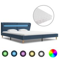 vidaXL Lit avec LED et matelas Bleu Tissu 160 x 200 cm