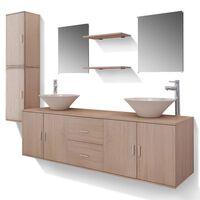 vidaXL Meuble de salle de bain 11 pcs avec lavabo et robinet Beige