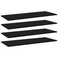 vidaXL Panneaux de bibliothèque 4 pcs Noir 100x40x1,5 cm Aggloméré