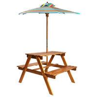 vidaXL Table à pique-nique et parasol enfants 79x90x60cm Acacia solide