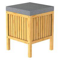 EISL Panier à linge 2 en 1 avec coussin de siège Bambou 39x39x52,5 cm