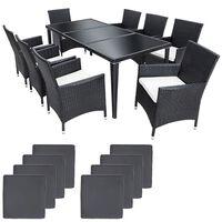 Salon de jardin 8 chaises rotin résine tressé synthétique noir + couss