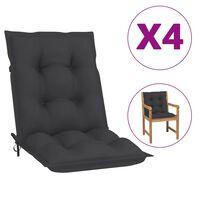 vidaXL Coussins de chaise de jardin 4 pcs Anthracite 100x50x7 cm
