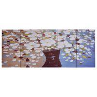 vidaXL Jeu de tableau sur toile Fleurs en vase Multicolore 150x60 cm