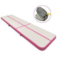 vidaXL Tapis gonflable de gymnastique avec pompe 600x100x20cm PVC Rose