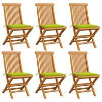 vidaXL Chaises de jardin avec coussins vert vif 6 pcs Bois de teck