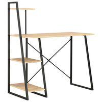 vidaXL Bureau avec étagère Noir et chêne 102x50x117 cm