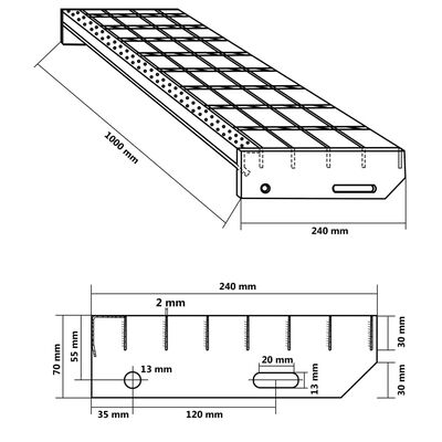 vidaXL Marches d'escalier 4 pcs Acier galvanisé forgé 1000x240 mm,
