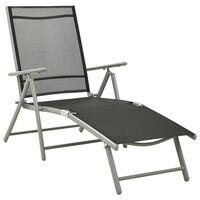 vidaXL Chaise longue pliable Textilène et aluminium Noir et argenté