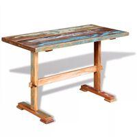 vidaXL Table à manger sur pied Bois de récupération massif 120x58x78cm