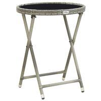 vidaXL Table à thé Gris 60 cm Résine tressée et verre trempé