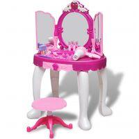 vidaXL Coiffeuse jouet 3 miroirs pour enfants avec lumière et son
