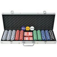 vidaXL Jeu de poker avec 500 jetons Aluminium