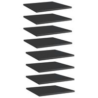 vidaXL Panneaux bibliothèque 8pcs Noir brillant 40x40x1,5cm Aggloméré