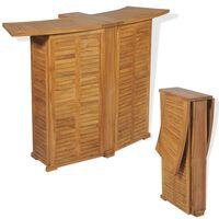 vidaXL Table pliable de bar 155x53x105 cm Bois de teck solide