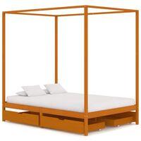 vidaXL Cadre de lit à baldaquin avec 4 tiroirs Bois de pin 140x200 cm
