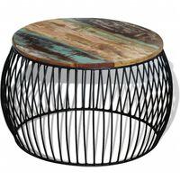 vidaXL Table basse ronde 68x43 cm Bois de récupération massif