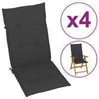 vidaXL Coussins de chaise de jardin 4 pcs Anthracite 120x50x4 cm